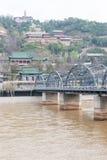 GANSU CHINY, Apr, - 07 2015: Żółty rzeka most (Zhongshan Bridg Zdjęcie Royalty Free