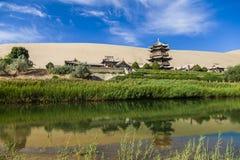 Gansu Dunhuang Crescent Lake and Mingsha Mountain.,China. stock photos