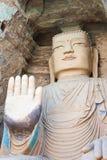 GANSU KINA - April 09 2015: Budda statyer på Tiantishan grottor Royaltyfri Foto