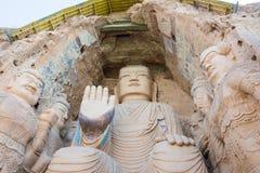 GANSU KINA - April 09 2015: Budda statyer på Tiantishan grottor Royaltyfria Bilder