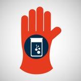 Gant chimique avec le flacon d'essai Image libre de droits