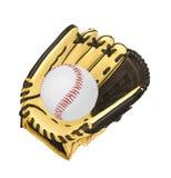 Gant de base-ball en cuir d'isolement sur le blanc photographie stock libre de droits