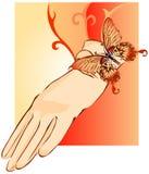 Gant femelle beige décoré du papillon Photo libre de droits