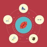 Gant plat d'icônes, raquette, Puck And Other Vector Elements L'ensemble de symboles plats d'icônes de sport inclut également la g Illustration Libre de Droits