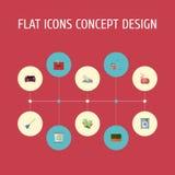 Gantelet plat d'icônes, laverie automatique, mousse et d'autres éléments de vecteur L'ensemble de nettoyer des symboles plats d'i Image stock