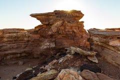 Gantheaumepunt bij zonsondergang, Broome, Kimberley, Westelijk Australië, Australië stock fotografie