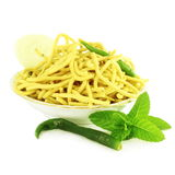 Ganthia Sev  noodles or vermicelli indian food snack in pure white background Royalty Free Stock Photography