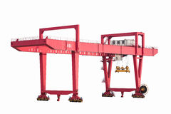 Gantry container crane isolated. Port machinery , rail-mounted gantry container crane isolated on white Royalty Free Stock Images