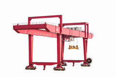 Gantry container crane isolated. On white,  port machinery Stock Image