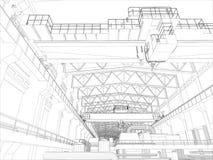 Gantry crane in a factory environment. Wire-frame Stock Photos