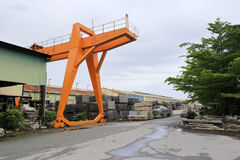 Gantry crane of guanglong stone carving factory Royalty Free Stock Image