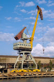 Gantry crane in the harbor. Gantry crane in the sea harbour Royalty Free Stock Images