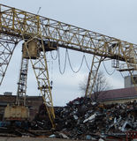 Gantry crane at junkyard Royalty Free Stock Photo