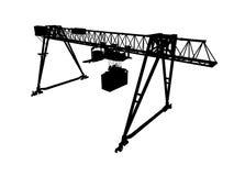 Gantry crane, silhouette isolated on white, perspective. Container bridge gantry crane. Black silhouette isolated on white background. Render of 3d model, wide Royalty Free Stock Photos