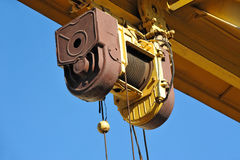 Gantry crane windlass. Full gantry crane windlass over blue sky background Stock Images