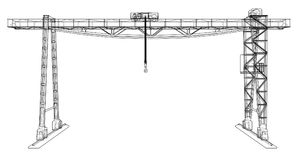 Gantry crane. Wire-frame. Vector EPS10 format. Vector rendering of 3d Stock Photo