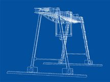 Gantry crane. Wire-frame. Vector EPS10 format. Vector rendering of 3d Royalty Free Stock Photography