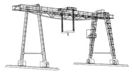 Gantry crane. Wire-frame. Vector EPS10 format. Vector rendering of 3d vector illustration