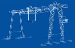 Gantry crane. Wire-frame. Vector EPS10 format. Vector rendering of 3d stock illustration