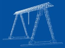 Gantry crane. Wire-frame. Vector EPS10 format Stock Images