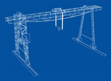 Gantry crane. Wire-frame. Vector EPS10 format. Vector rendering of 3d royalty free illustration