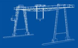 Gantry crane. Wire-frame. Vector EPS10 format Royalty Free Stock Photography