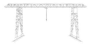Gantry crane. Wire-frame. Vector. EPS10 format. Vector rendering of 3d vector illustration