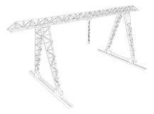 Gantry crane. Wire-frame. Vector Royalty Free Stock Image