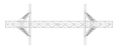 Gantry crane. Wire-frame. Vector Stock Image
