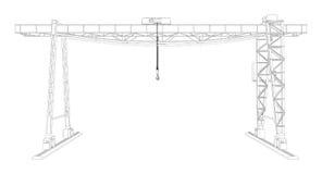 Gantry crane. Wire-frame. Vector Royalty Free Stock Photo