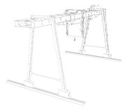 Gantry crane. Wire-frame. Vector Stock Photo