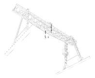 Gantry crane. Wire-frame. Vector Royalty Free Stock Photo
