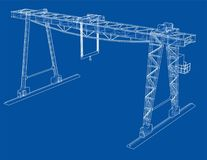 Gantry crane. Wire-frame. Vector EPS10 format. Vector rendering of 3d Royalty Free Stock Images