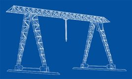 Gantry crane. Wire-frame. Vector EPS10 format. Vector rendering of 3d Royalty Free Stock Photo