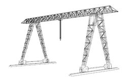 Gantry crane. Wire-frame. Vector EPS10 format Royalty Free Stock Photo