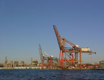 Gantry cranes. Photo of gantry cranes in Brooklyn, New York, with blue sky background stock image