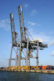 Gantry cranes at a container port Stock Photos