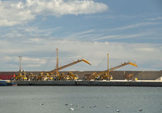 Gantry Cranes at Garrucha Harbor Royalty Free Stock Images