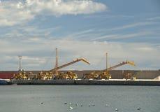 Gantry Cranes at Garrucha Harbor Royalty Free Stock Images