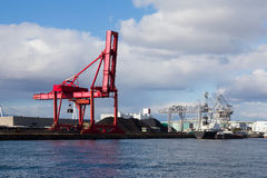 Gantry cranes in harbor on Osaka port harbor Stock Photo