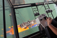 Gantry harbor crane operator Stock Image