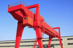 Gantry over blue sky Stock Photo