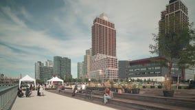 Gantry plaza park walking bay 4k time lapse from new york stock video