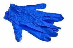 Gants bleu-foncé de latex. Photographie stock