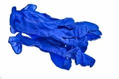 Gants bleu-foncé de latex. Image libre de droits