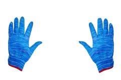 Gants bleus avec l'espace Photo stock