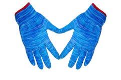 Gants bleus avec la forme de coeur Photos stock