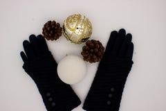 Gants bleus, boules blanches et d'or de No?l et deux c?nes de pin sur un fond blanc Nouveau concept de Year's et de Noël photos stock