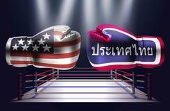 Gants de boxe avec des copies des Etats-Unis et des drapeaux thaïlandais faisant face à chacun illustration stock