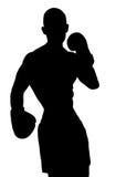 Gants de boxe de port d'homme de forme physique de vecteur Photographie stock libre de droits
